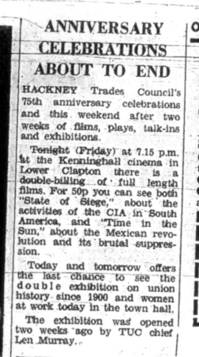 Coverage of 'Women and Work', Hackney Gazette, 1975.