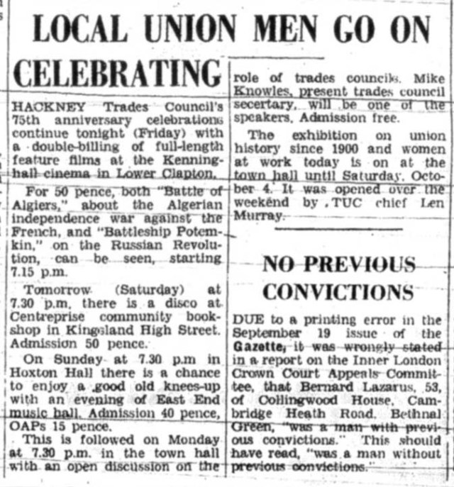 Coverage of 'Women and Work', Hackney Gazette, September 1975.