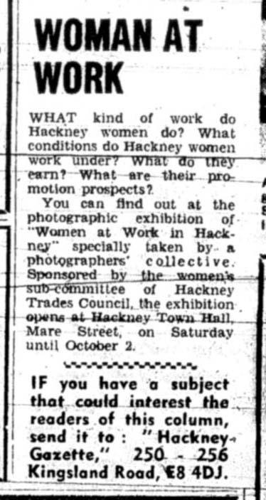 Coverage of 'Women and Work', Hackney Gazette, September 1975.