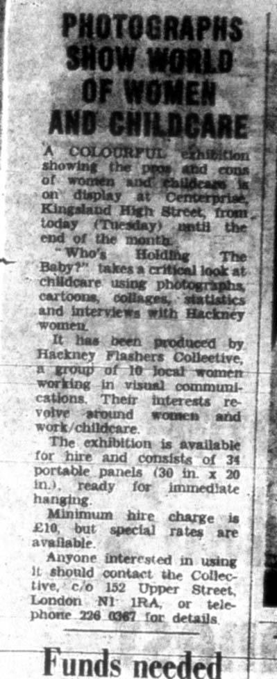 Coverage of 'Who's Holding the Baby?', Hackney Gazette, September 1975.