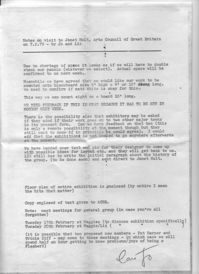 Notes on meetings with the Art Council, Archive material ©Hackney Flashers